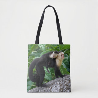Adult Capuchin Monkey Carrying Baby On Its Back Tote Bag