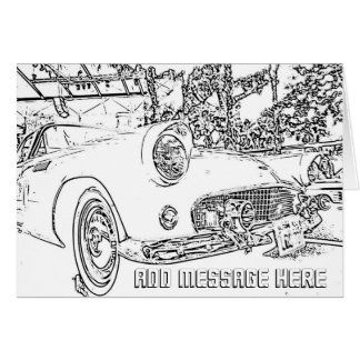 Adult Coloring, Antique Car, Add Your Own Message Card