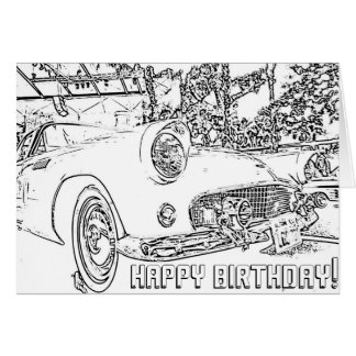Adult Coloring, Antique Car, Happy Birthday Card