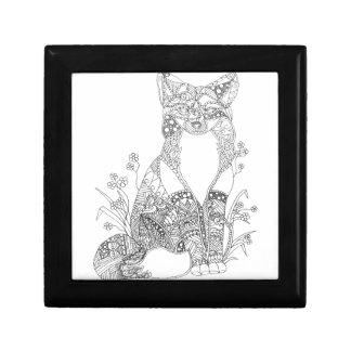 Adult Coloring Fox Animal Art Keepsake Box