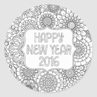 Adult Coloring Happy New Year Round Stickers