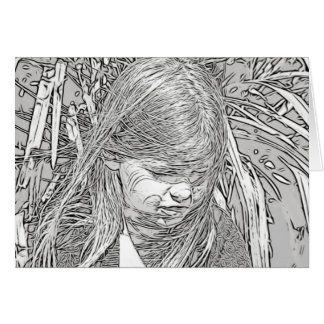 Adult Coloring: Little Girl on Front of Card
