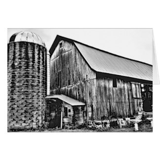 Adult Coloring: Old Antique Barn and Silo Card