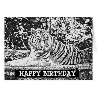 Adult Coloring Tiger Happy Birthday Card