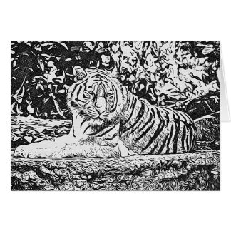 Adult Coloring Tiger Thinking of You Card