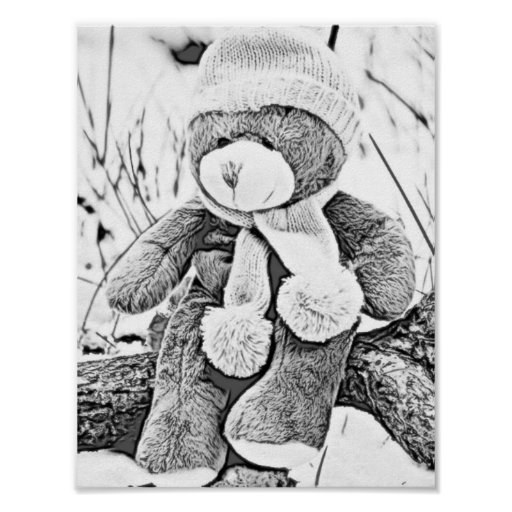 Adult Colouring Teddy Bear Poster
