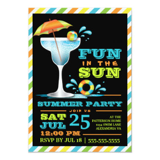 Adult Fun Sun Cocktails Summer Party  Invitation