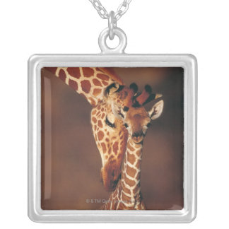 Adult Giraffe with calf (Giraffa camelopardalis) Silver Plated Necklace