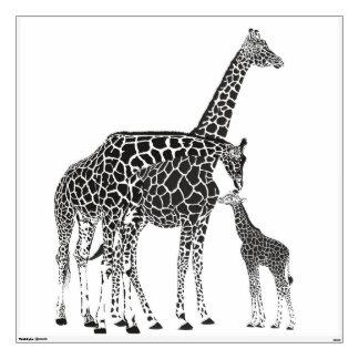 Adult giraffes and baby giraffe wall sticker