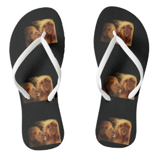 Adult, Lion White Slim Straps Flip Flops