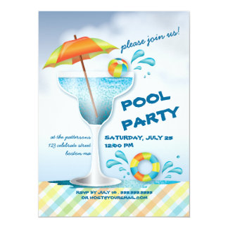 Adult Pool Party Summer Cocktail Invitation