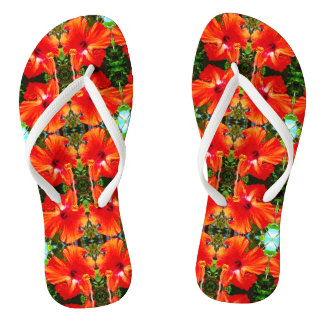 Adult Red Hibiscus Thick Straps Sandals
