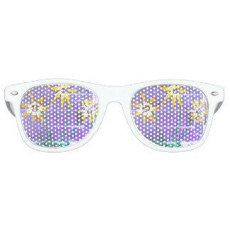 Adult Retro Party Shades, White Flowers Painting Party Sunglasses