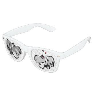 Adult Retro Party Shades, White - Hippo in Love - Retro Sunglasses