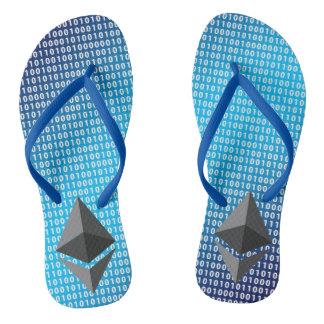 Adult, Slim Straps – Blue Digital Background Flip Flops