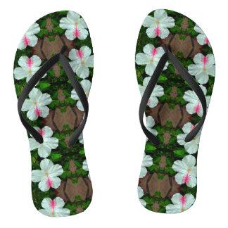Adult White Hibiscus Thin Straps Sandals