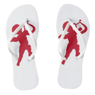 Adult, White &Red silhouette cupid Slim Straps Flip Flops