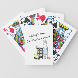 Adulting is hard... I'd rather be a unicorn! Bicycle Playing Cards