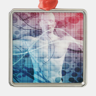 Advanced Technology and Science Abstract Silver-Colored Square Ornament
