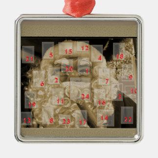 Advent calendar with nikolaus Silver-Colored square ornament