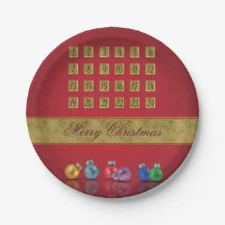 Advent Calendar with Ornaments - Paper Plate