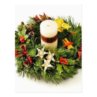 Advent Wreath On White Background Postcard