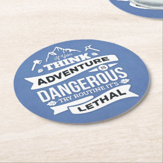 Adventure Attitude Success Motivational Quote Blue Round Paper Coaster