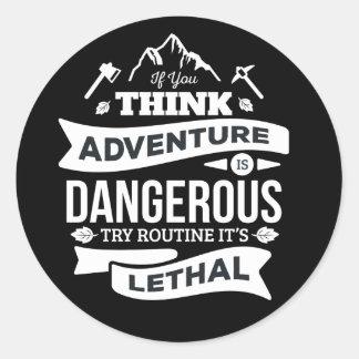 Adventure, Attitude, Success, Motivational Quote Classic Round Sticker