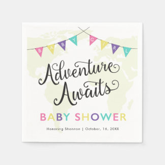 Adventure Awaits: Baby Girl Cocktail Napkins