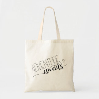 Adventure Awaits Hand Lettered Tote Bag