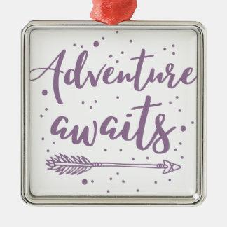 adventure awaits  in purple metal ornament