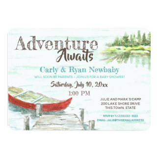 Adventure Awaits Lake and Canoe Baby Shower Card