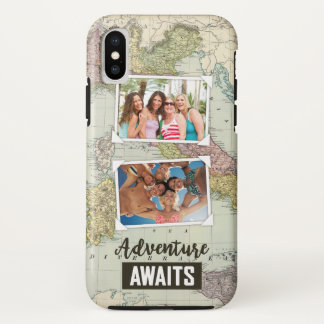 Adventure Awaits Map | Upload Your Own Photos iPhone X Case
