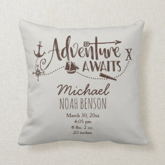 """Adventure Awaits"" Nautical Birth Stats Throw Pillow"