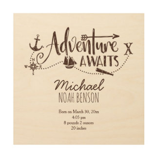 """Adventure Awaits"" Nautical Nursery Birth Stats Wood Canvases"