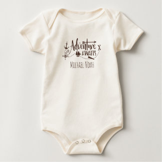 """Adventure Awaits"" Nautical Personalized Baby Bodysuit"