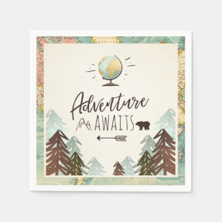 Adventure awaits Paper Napkin Vintage Globe Travel