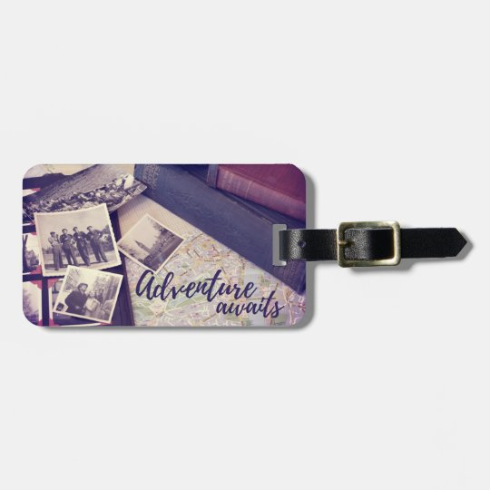 Adventure Awaits Photograph Travel Vintage Custom Bag Tag