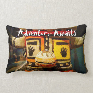 """Adventure Awaits"" Quote Cute Funny Face Photo Lumbar Pillow"