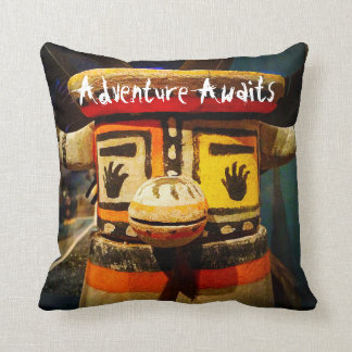 """""""Adventure Awaits"""" Quote Cute Funny Face Photo Throw Pillow"""