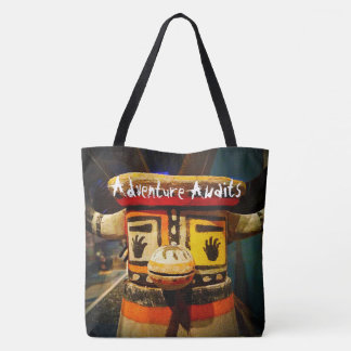 """""""Adventure Awaits"""" quote cute funny face photo Tote Bag"""