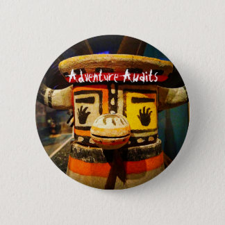 """Adventure awaits"" quote funny cute odd face photo 2 Inch Round Button"