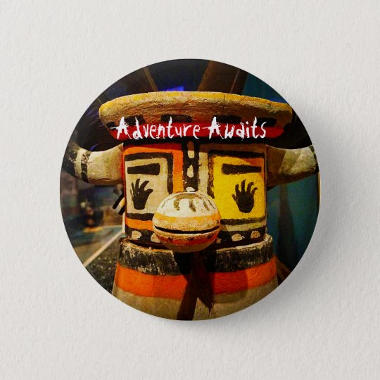 """""""Adventure awaits"""" quote funny cute odd face photo 2 Inch Round Button"""