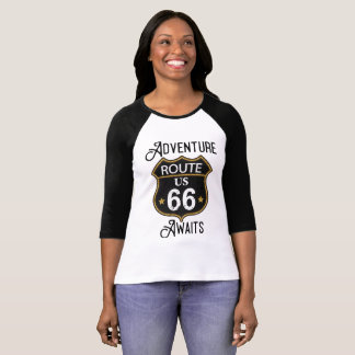 Adventure Awaits Route 66 In Black and Faux Gold T-Shirt