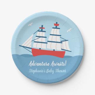 Adventure Awaits Ship Nautical Baby Shower Plates