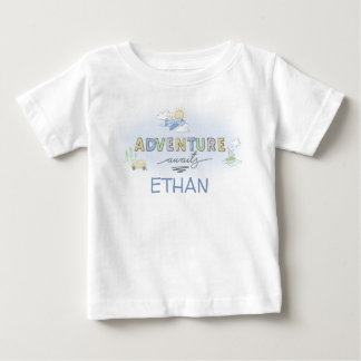 Adventure Awaits Travel Car Plane Boat Personalize Baby T-Shirt