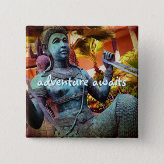 """Adventure awaits"" turquoise warrior statue photo 2 Inch Square Button"