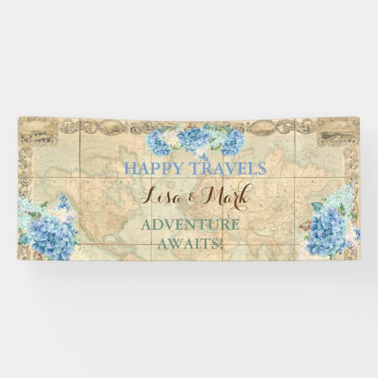 Adventure Awaits Vintage World Map Blue Hydrangeas Banner