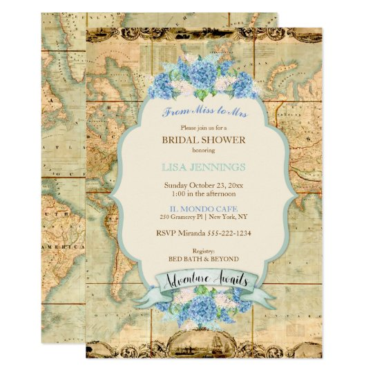Adventure Awaits Vintage World Map Blue Hydrangeas Card
