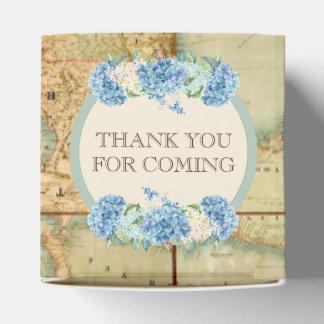 Adventure Awaits Vintage World Map Blue Hydrangeas Favor Box